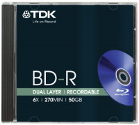 Диски Blu-Ray TDK BD-R 50GB 6x Jewel case