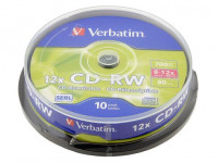 Диски Verbatim CD-RW 700Mb 12x cake box 10 (43480)