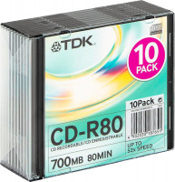 Диски TDK CD-R 700Mb 52x slim box (t18765)