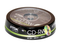 Диски TDK CD-RW 700Mb 12x cake box 10 (t19512)